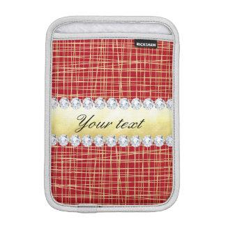 Rote Goldgewirr-Linien und Diamanten iPad Mini Sleeve