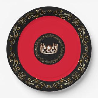 """Rote Goldkrone 9"""" Fräulein-USA PapierTeller"""