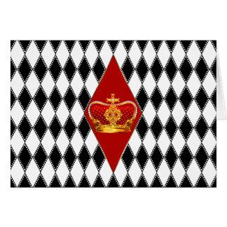 Rote Goldkrone u. Schwarzweiss-Diamanten Grußkarte