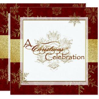 Rote Goldweihnachtsfeier-Einladungs-Karte Karte