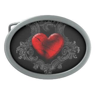 Rote Goth Herz-Gürtelschnalle Ovale Gürtelschnallen