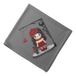 Rote gotische Liebe-Puppen-Pixel-Kunst Kopftuch