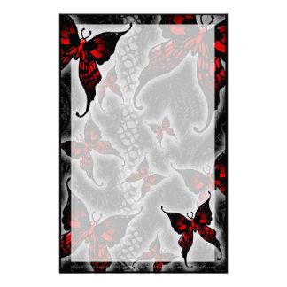 Rote gotische Schmetterlinge Briefpapier