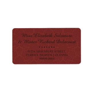 Rote gotische viktorianische adressaufkleber