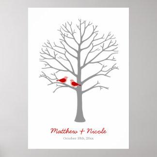 Rote graue Vogel-Fingerabdruck-Baum-Hochzeit Poster