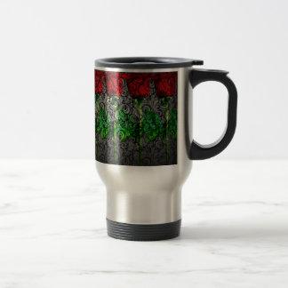 rote grüne Rose der Entwurfskunst Reisebecher