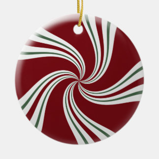 Rote grüne und weiße Pfefferminz-Süßigkeit Keramik Ornament