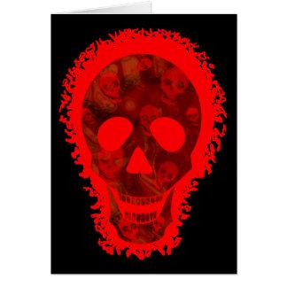 Rote Grußkarte des großen Schädels