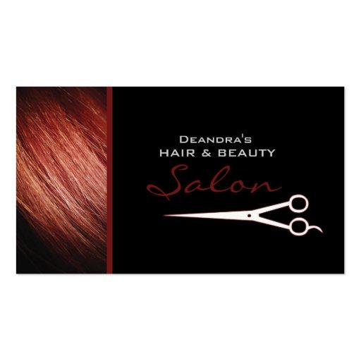 Rote Haar-Stylist-Salon-Verabredungs-Geschäfts-Kar Visitenkarten Vorlagen
