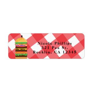 Rote Hamburger-Sommercookout-Grill-Einladung Kleiner Adressaufkleber