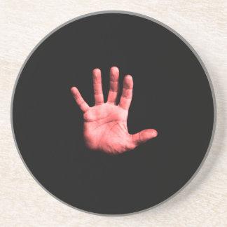 Rote Hand Getränkeuntersetzer