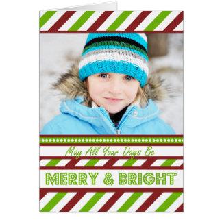 Rote HELLE Streifen-Weihnachtskarte Karte