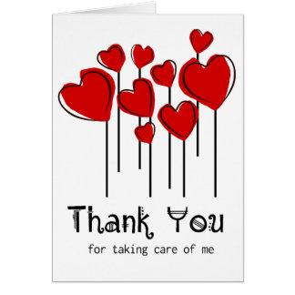 Rote Herz-Ballone danken Ihnen, Notecard zu Karte
