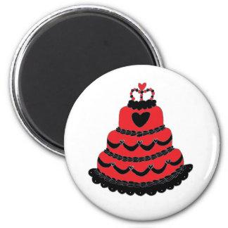 Rote Herz-gotischer Kuchen Runder Magnet 5,7 Cm