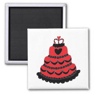Rote Herz-gotischer Kuchen Quadratischer Magnet