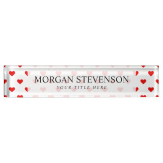 Rote Herz-Muster-Liebe Namensplakette