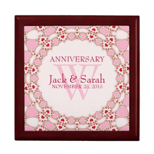 Rote Herz-rosa Spitze-Hochzeits-Jahrestags-Geschen