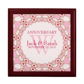 Rote Herz-rosa Spitze-Hochzeitstag-Geschenkbox