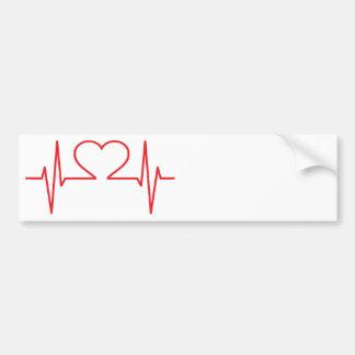 Rote Herz-Schlag-Linie Autoaufkleber