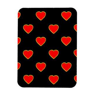 Rote Herzen auf einem schwarzen Hintergrund Magnet