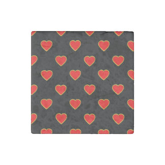 Rote Herzen auf einem schwarzen Hintergrund Stein-Magnet