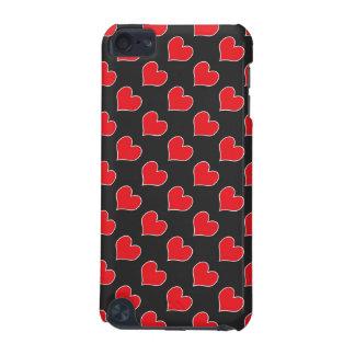 Rote Herzen auf schwarzem Musteripod-Touchkasten iPod Touch 5G Hülle