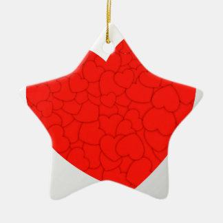 Rote Herzen Keramik Ornament