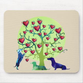 Rote Herzen Liebe-Garten-Dackel-Kunst Mousepad