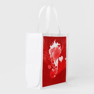 Rote Herzen mit Flügeln Wiederverwendbare Einkaufstasche
