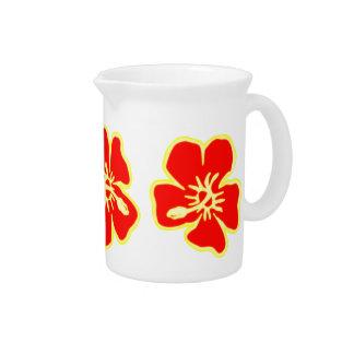 Rote Hibiskus-Blumen tropisches hawaiisches Luau Krug