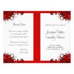 Rote Hibiskus-Hochzeits-Programm-mit Personalisierte Flyer