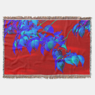 Rote Himmel-Blau-Blätterthrow-Decke Decke