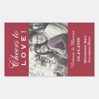 Rote Hochzeits-Foto-Wein-Flaschen-Bevorzugung Rechteckiger Aufkleber