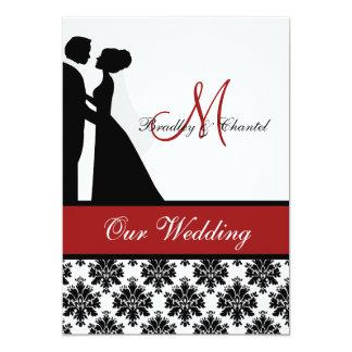 Rote Hochzeits-Paar-Hochzeits-Einladung Karte