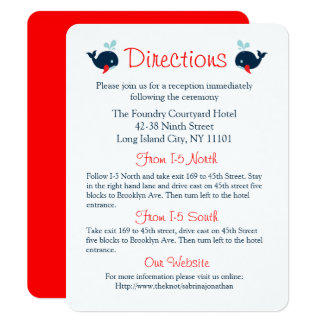 Rote Hochzeits-Richtungs-Marine-nautischblauwale Karte