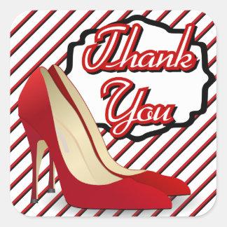 Rote hohe Heels-Pumpen danken Ihnen Quadratischer Aufkleber