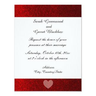 Rote Imitat-Glitzer-Hochzeits-Einladung 10,8 X 14 Cm Einladungskarte