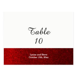 Rote Imitat-Glitzer-Tabellen-Sitzplatz-Karte Postkarte