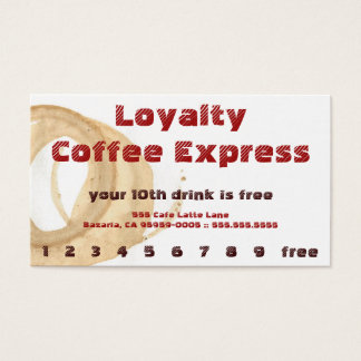 Rote Kaffee-Fleck-Getränk-Loyalitäts-Lochkarte Visitenkarte
