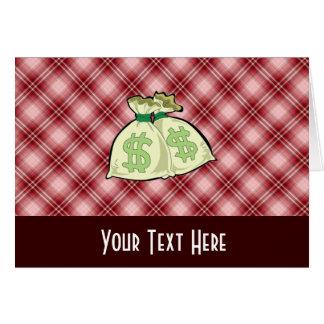 Rote karierte Geld-Taschen Karte