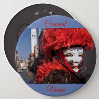 Rote Karnevalsmaske in Venedig, Italien Runder Button 15,3 Cm