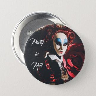 Rote Karnevalsmaske in Venedig, Italien Runder Button 7,6 Cm