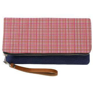rote Karodruck-Handtasche Clutch
