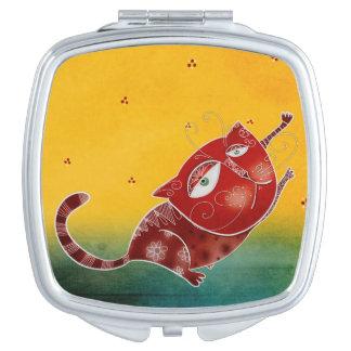 Rote Katze Taschenspiegel