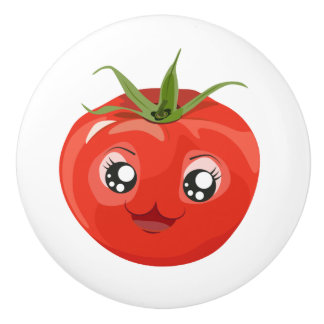 Rote kawaii Tomate weißer Keramik-Griff Keramikknauf