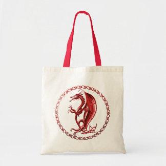 Rote keltische Drache-Taschen-Tasche Budget Stoffbeutel