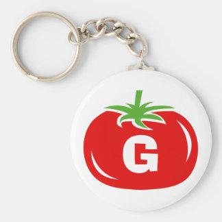 Rote keychains Tomate des Namemonogramms Schlüsselanhänger
