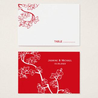 Rote Kirschblüten-asiatische Visitenkarte