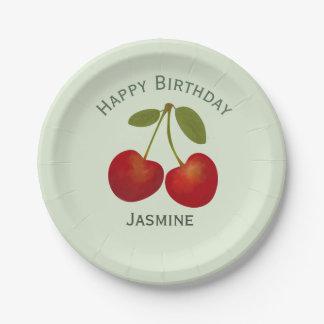 Rote Kirschfrucht, alles Gute zum Geburtstag Pappteller