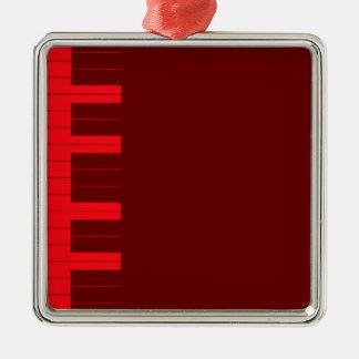 Rote Klavier-Schlüssel Quadratisches Silberfarbenes Ornament